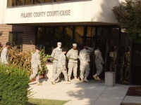 Military personnel bused to voting booths